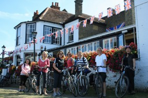 Enjoy local pub grub on our bike tours- especially this one to Windsor!