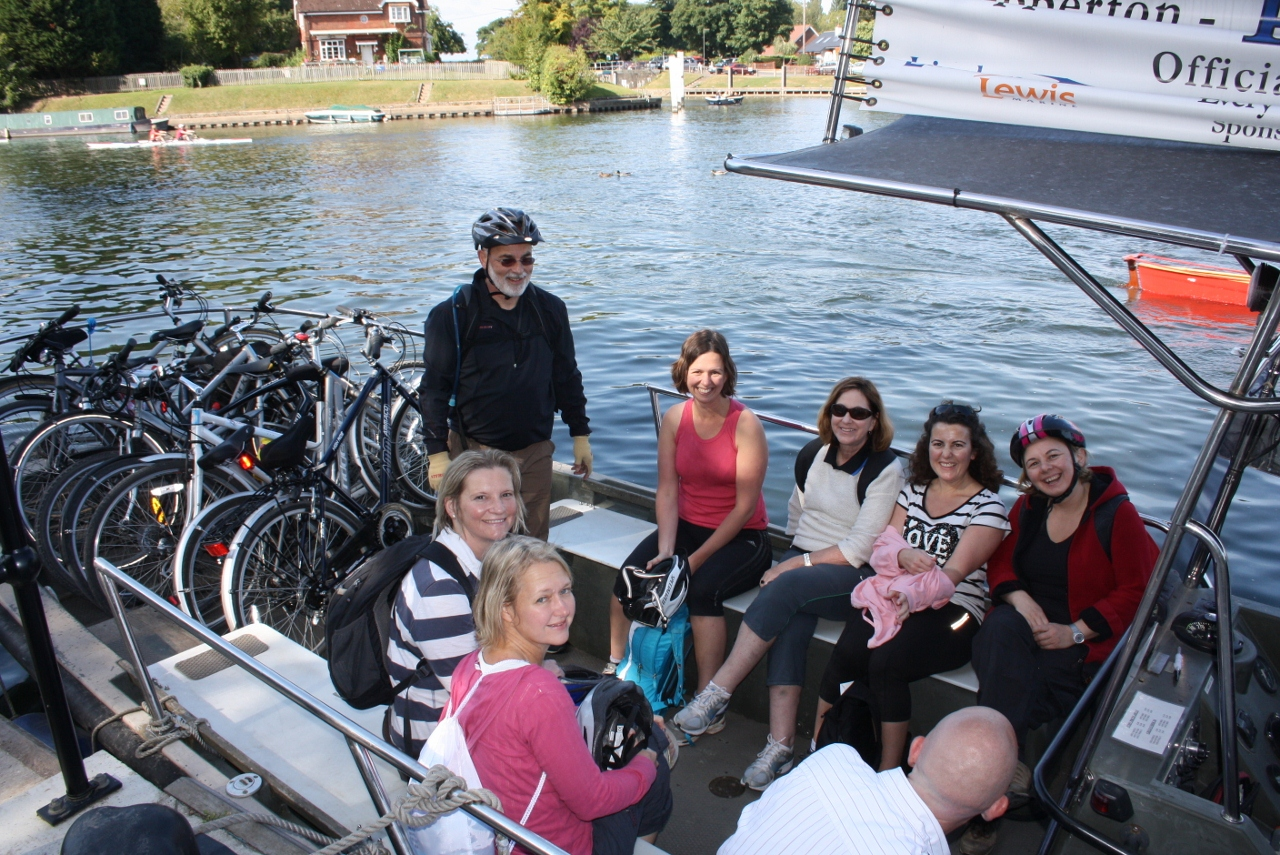 Aferry trip on a bike ride from hampton Court to Windsor