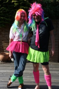 Tutu, wig, tie or beads and leg warmers for all!